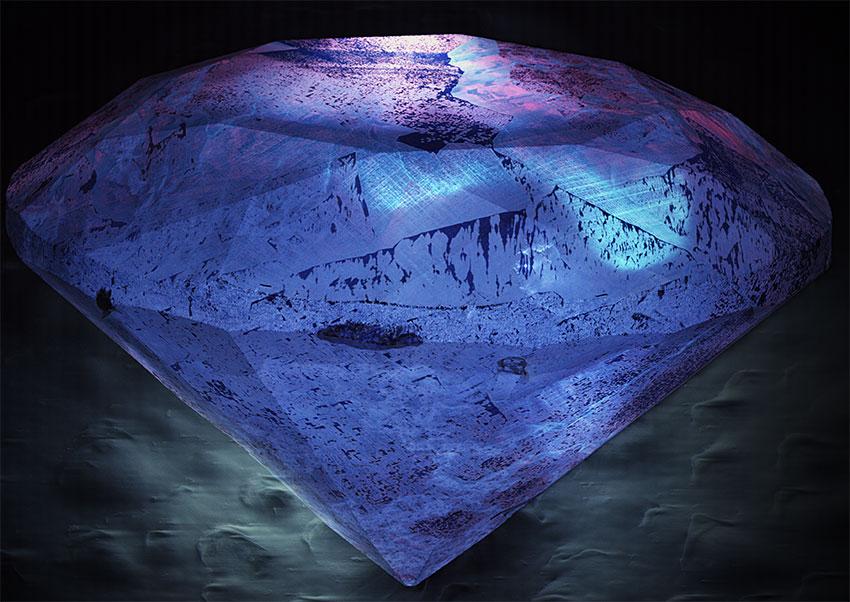 Катодолюминесценция огранённого алмаза