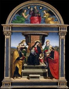 Зеленоватый оттенок мантии Мадонны в картине Рафаэля « Мадонна с младенцем на троне со святыми» обусловлен превращением азурита в малахит.