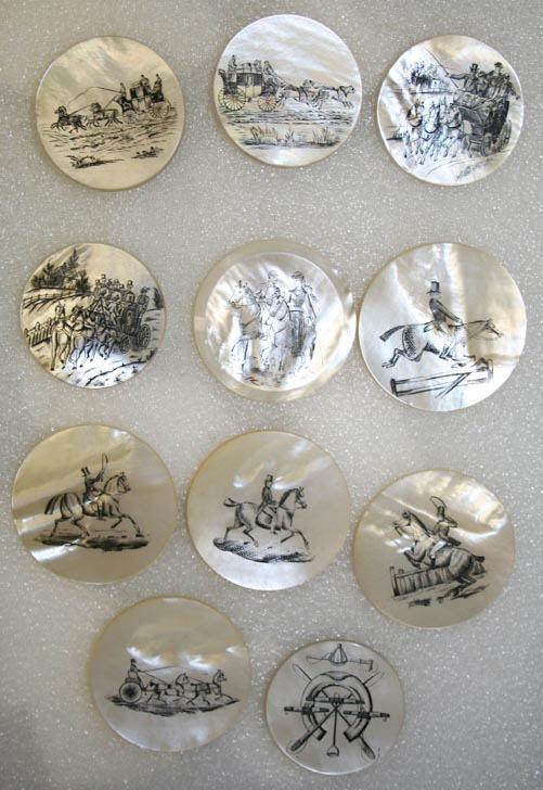 Перламутровые пуговицы с рисунками