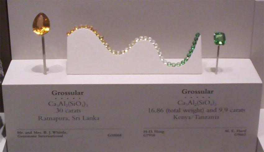 Гроссуляр выставлен в Национальном музее естественной истории США . Зеленый камень справа - это разновидность гроссуляра, известного как цаворит