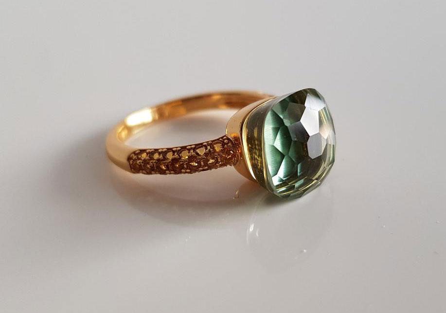 Кольцо с зеленым гелиодором