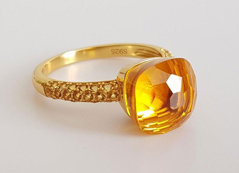 Кольцо с желтым гелиодором