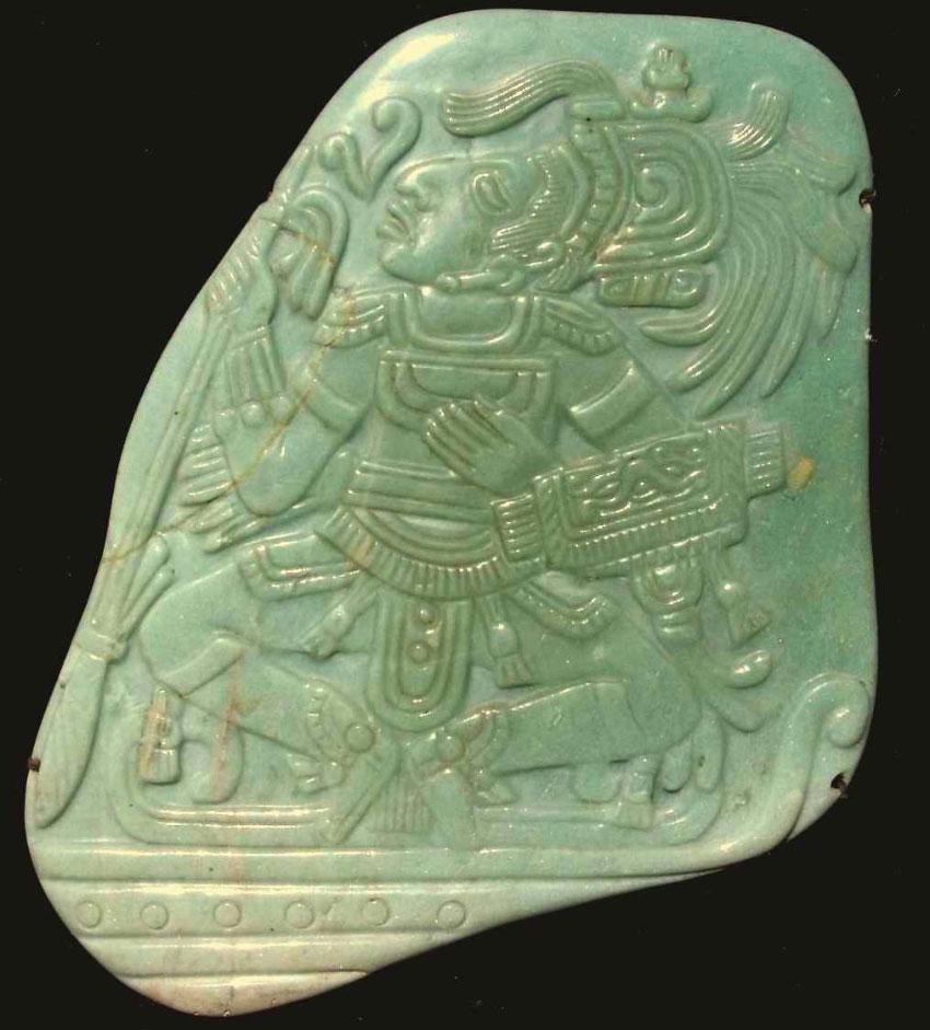 Жадеит грудной от майя классического периода (195 мм или 7,7 в максимуме)