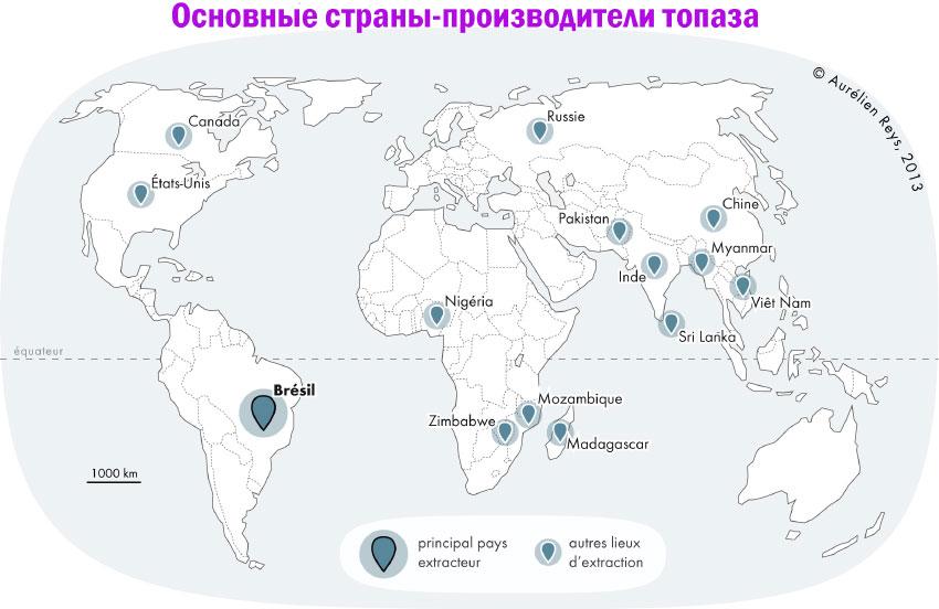 Основные страны-производители топаза