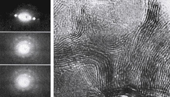 Нанодифракционная картина шунгитового углерода (зонд 0,3 — 0,7 нм)