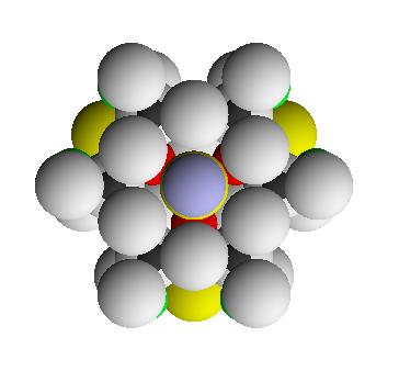 Вид на единицу структуры турмалина по оси кристалла
