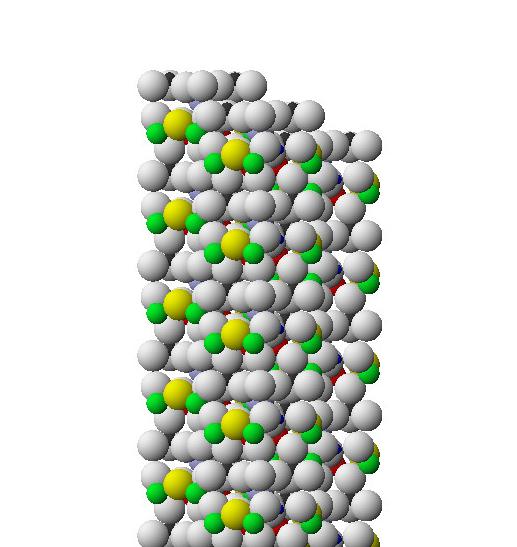 Вид по оси трех столбцов турмалиновых единиц, образующих пучок
