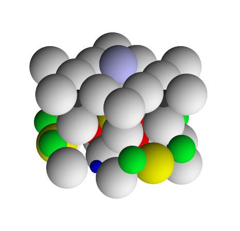 Вид под углом на единое целое кристаллической структуры турмалина